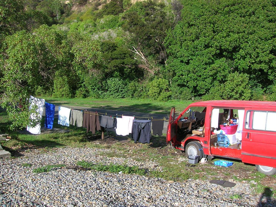 Ausblick auf unseren Van nach dem Regentag
