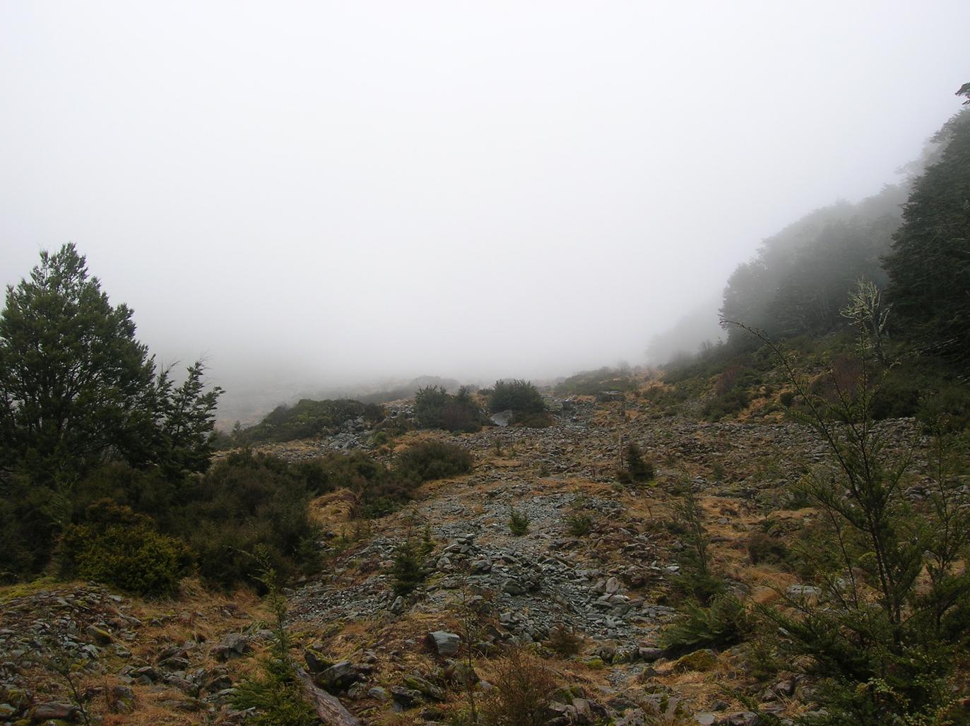 Der Blick auf den Gletscher … im Nebel